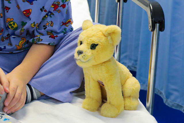 patient with stuffed animal